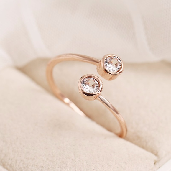 Double CZ Round Crystal Rose Gold Bypass Ring Boutique